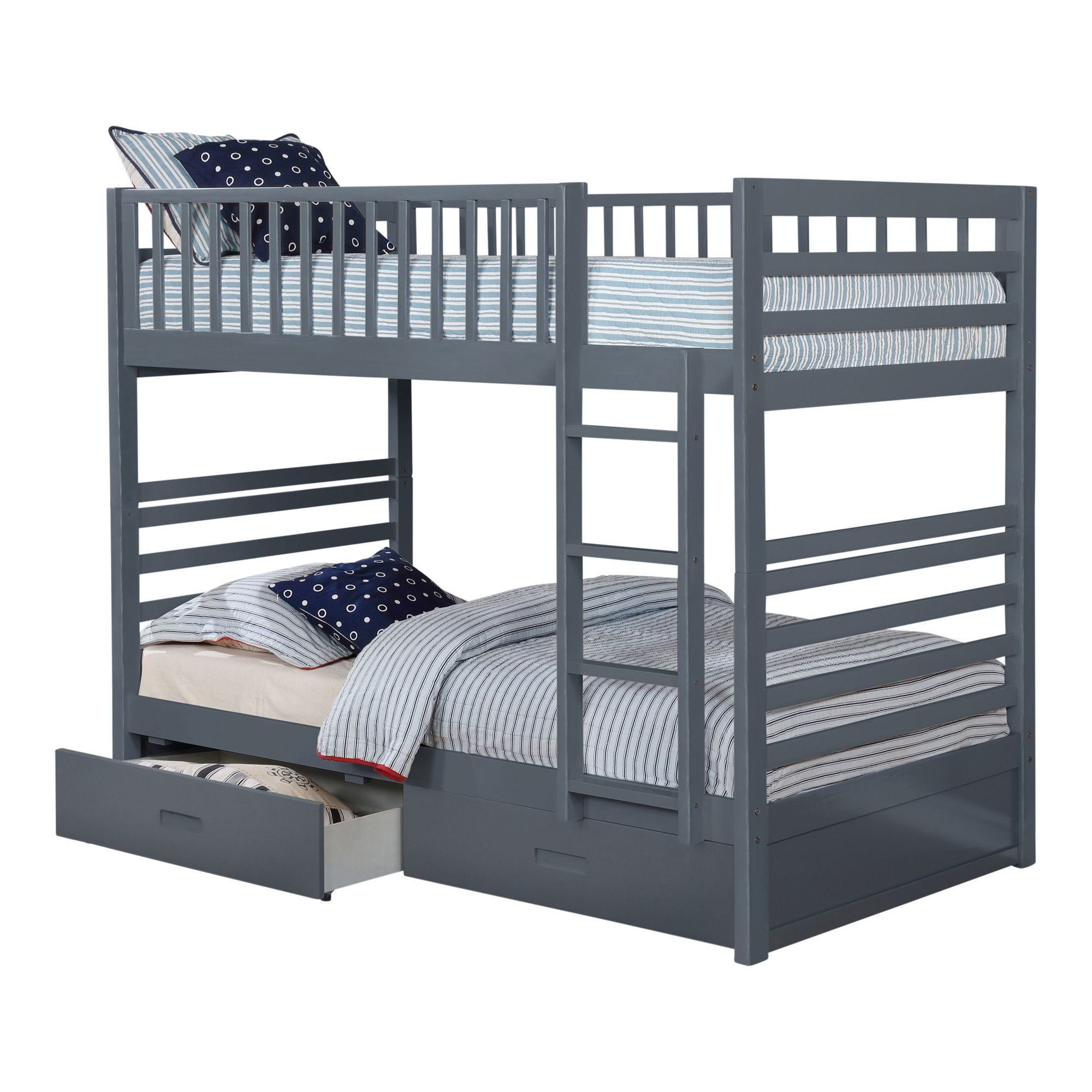Hardy Twin Over Twin Bunk Bed Grey Tepperman S