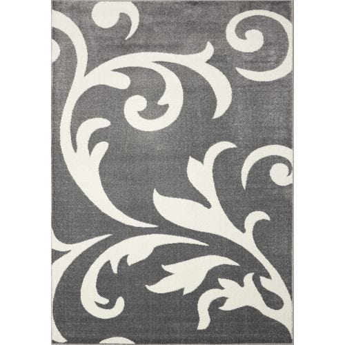 CENTURY GREY SCROLL AREA RUG - 5'3 X 7'7