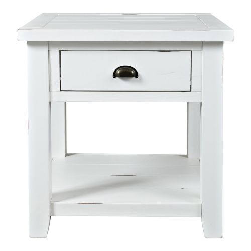 ARTISAN CRAFT WEATHERED WHITE END TABLE