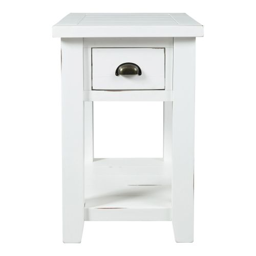 ARTISAN CRAFT WEATHERED WHITE CHAIRSIDE END TABLE