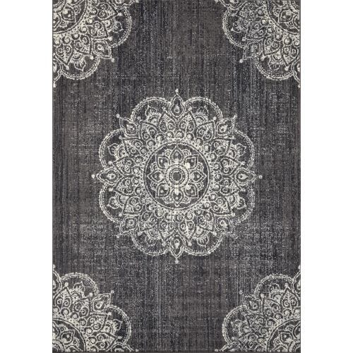 FAIRA CHARCOAL MEDALLION AREA RUG - 5'3 X 7'7