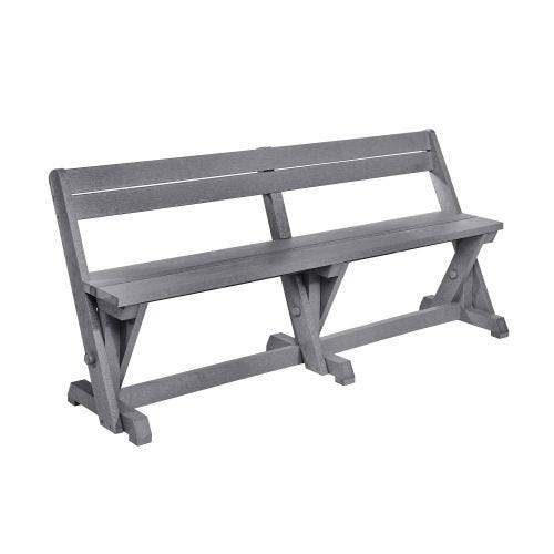 HARVEST BENCH WITH BACK-SLATE GREY