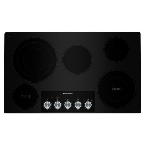 "KitchenAid 36"" Electric Cooktop with 5 Elements and Knob Controls CO-KCES556HBL"