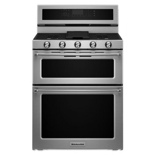 KitchenAid 30-Inch 5 Burner Dual Fuel Double Oven Convection Range CO-KFDD500ESS