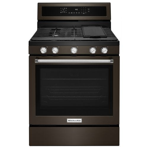 KitchenAid 30-Inch 5-Burner Gas Convection Range CO-KFGG500EBS