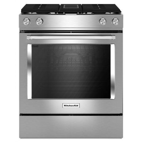 KitchenAid 30-Inch 4-Burner Dual Fuel Downdraft Front Control Range CO-KSDG950ESS