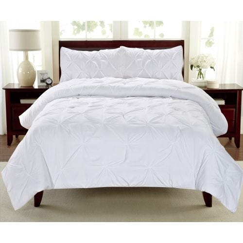 PINTUCK WHITE QUEEN 3 PC COMFORTER SET (POLYESTER)