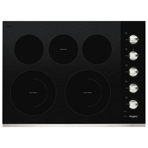 Whirlpool 30-inch Electric Ceramic Glass Cooktop with Two Dual Radiant Elements CO-WCE77US0HS