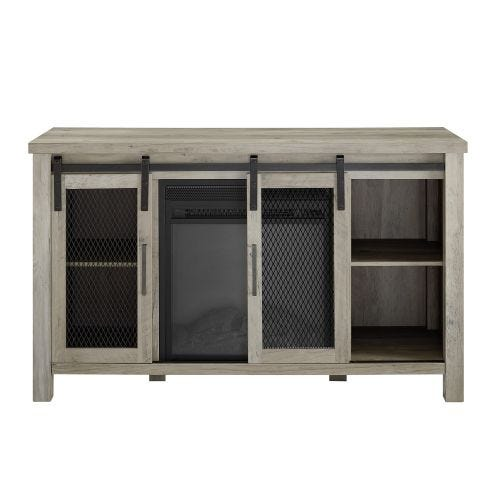 DANTE ELECTRIC FIREPLACE MEDIA CONSOLE - GREY WASH
