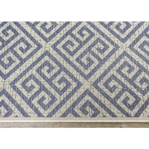TERRA BLUE GREEK KEY OUTDOOR AREA RUG 7'10 X 10'6