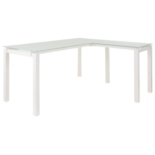 RTA BARAGA GLASS L-SHAPE DESK - WHITE