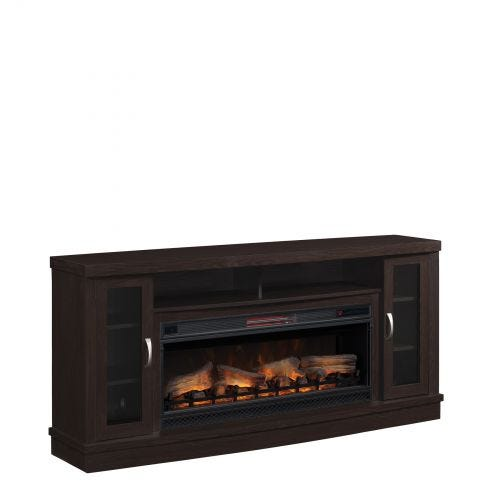 HUTCHINSON ELECTRIC FIREPLACE MEDIA STAND - GLASS