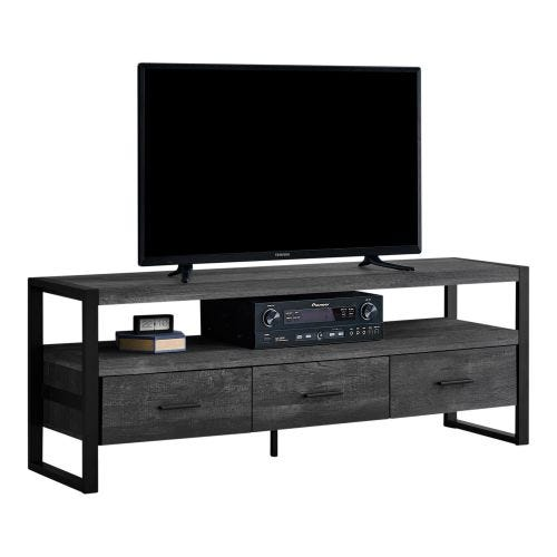 TV STAND - BLACK RECLAIMED WOOD-LOOK