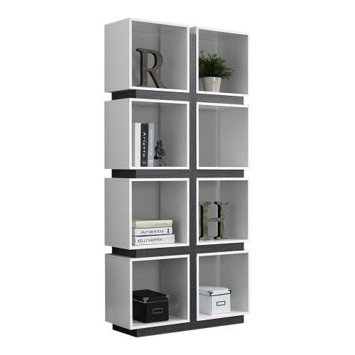 8 CUBE BOOKSHELF - WHITE & GREY