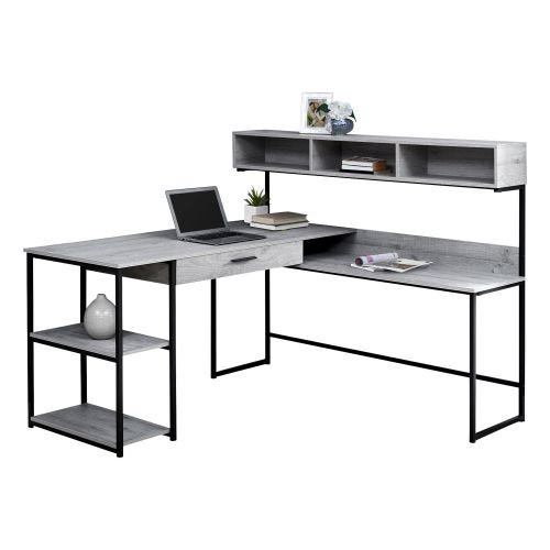 L-SHAPE DESK - GREY & BLACK