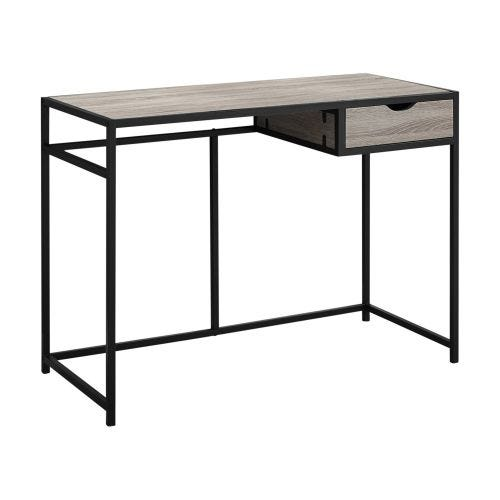 COMPUTER DESK - DARK TAUPE & BLACK METAL