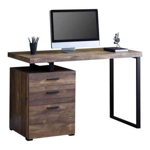 BROWN WOOD-GRAIN DESK WITH BLACK METAL LEGS