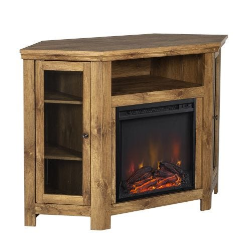JACKSON III ELECTRIC CORNER FIREPLACE - BARNWOOD