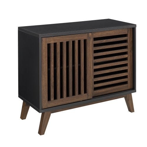 JANE SLIDING DOOR ACCENT CABINET - BLACK/WALNUT