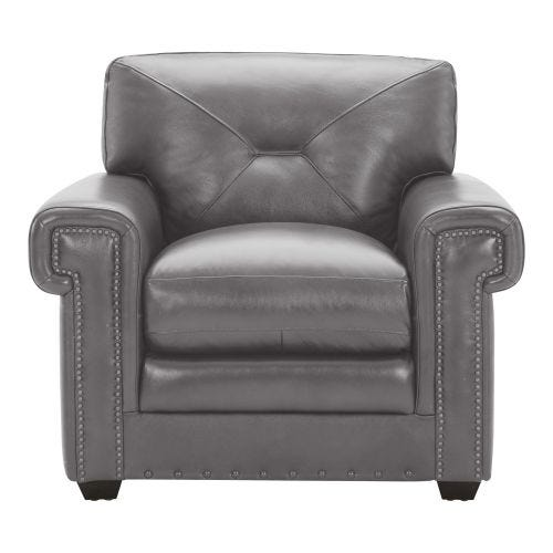 NADRA GREY 100% LEATHER CHAIR