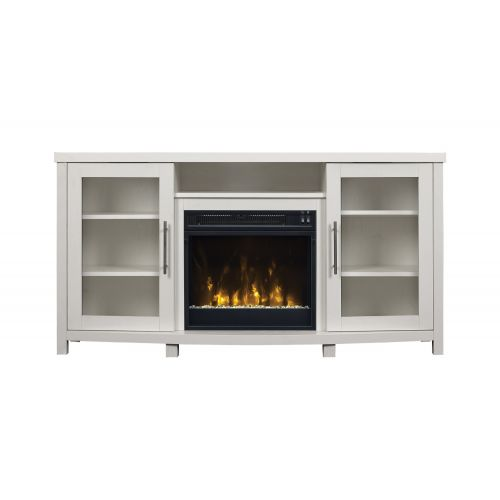 KIARA ELECTRIC FIREPLACE MEDIA STAND - GLASS & LOG