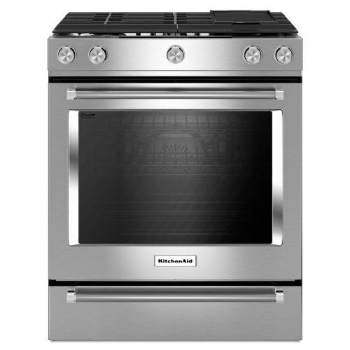 KitchenAid 30-Inch 5 Burner Front Control Gas Convection Range with Baking Drawer KSGB900ESS
