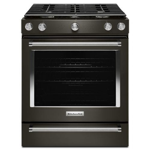 KitchenAid 30-Inch 5-Burner Gas Convection Front Control Range KSGG700EBS
