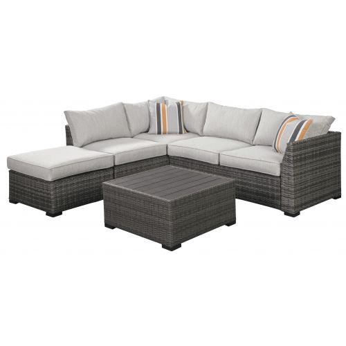 CHERRY POINT 5 SEAT SECTIONAL WITH OTTOMAN & TABLE