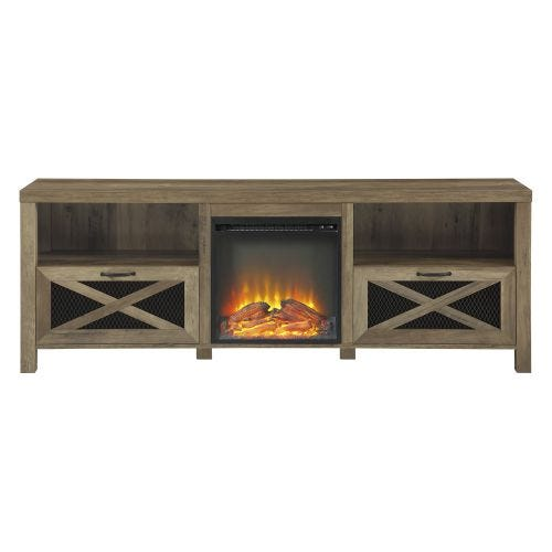 PATRICK ELECTRIC FIREPLACE TV CONSOLE - BARNWOOD