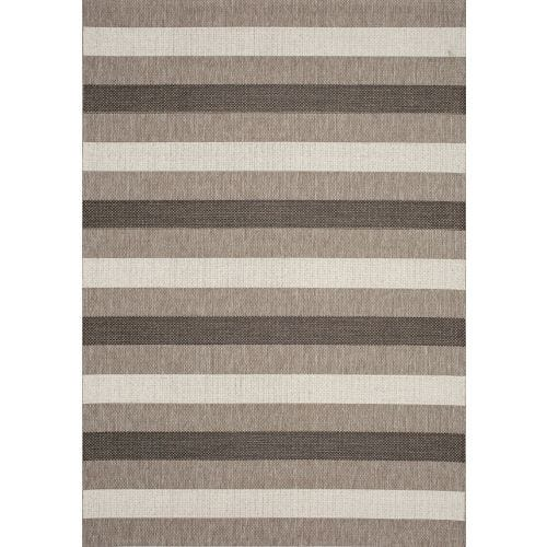 TERRA BEIGE BRWN STRIPE OUTDOOR AREA RUG 7'10X10'6