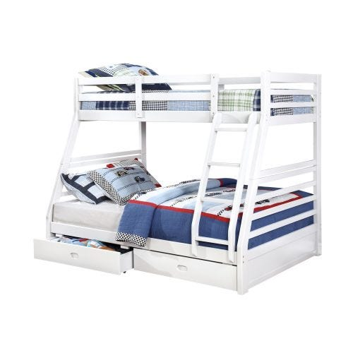 HOLMES TWIN OVER FULL BUNK BED - WHITE