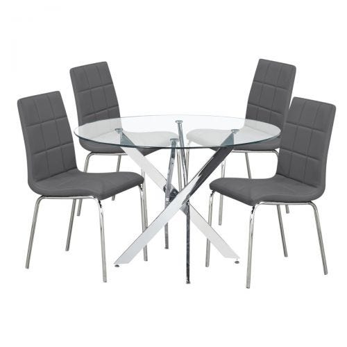 ANNETTE 5 PC DINING SET - GREY