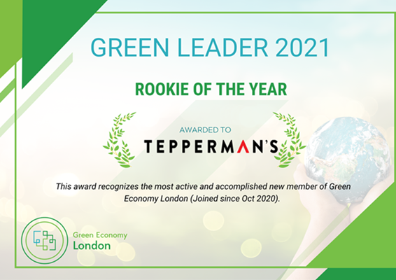Green Economy London 2021 Rookie of the Year Award for Tepperman's